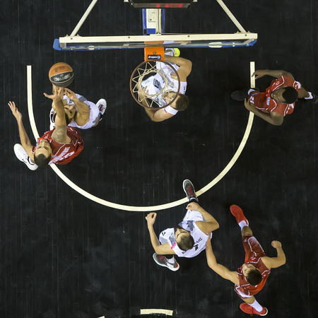 rebound: Thessaloniki, Greece, Oct 17, 2015: Some players in action during during the Greek Basket League game Paok vs Kifisia