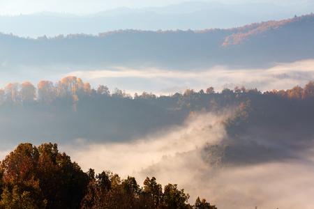 lonley: autumn scenery up early with fog in Zagorochoria, Epirus Greece Stock Photo