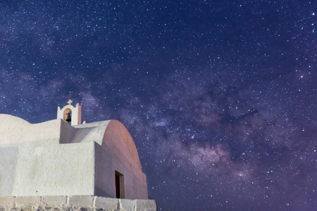 greece: The Milky Way from Santorini island in Greece. Image taken with slow shutter speed