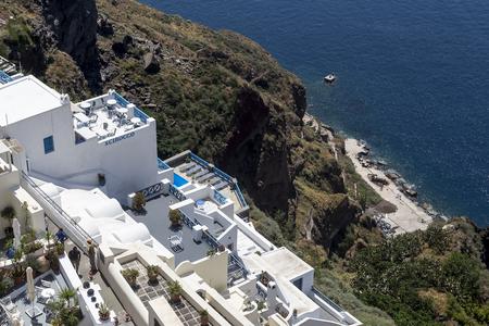 fira: Santorini island landscape of famous Fira village, Greece