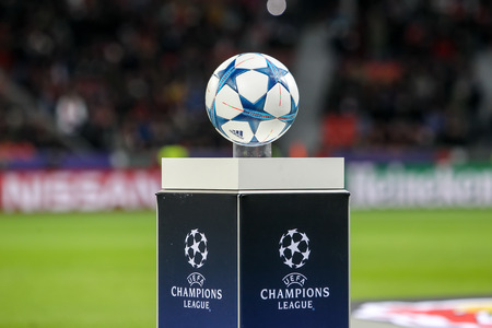 Leverkusen, Germany- December 9, 2015: The ball of the Champions League on a pedestal close-up during the UEFA Champions League game between Bayer 04 Leverkusen vs Barcelona at BayArena stadium