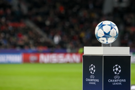 9 ball: Leverkusen, Germany- December 9, 2015: The ball of the Champions League on a pedestal close-up during the UEFA Champions League game between Bayer 04 Leverkusen vs Barcelona at BayArena stadium