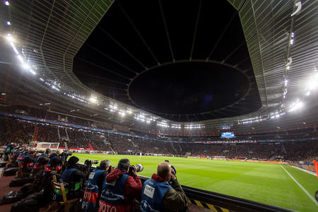 Leverkusen, Germany- December 9, 2015: Media and Photographers  during the UEFA Champions League game between Bayer 04 Leverkusen vs Barcelona at full BayArena Stadium
