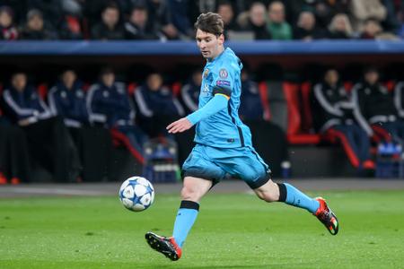messi: Leverkusen, Germany- December 9, 2015: Lionel Messi during the UEFA Champions League game between Bayer 04 Leverkusen vs Barcelona at BayArena stadium