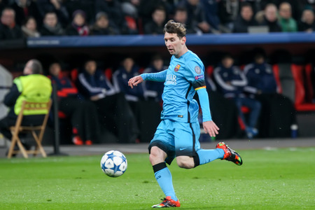 lionel messi: Leverkusen, Germany- December 9, 2015: Lionel Messi during the UEFA Champions League game between Bayer 04 Leverkusen vs Barcelona at BayArena stadium