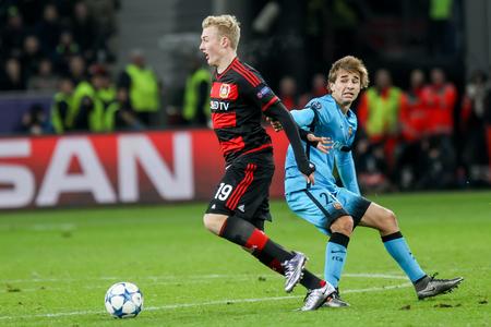 julian: Leverkusen, Germany- December 9, 2015: Julian Brandt (L) and Sergi Samper (R) during the UEFA Champions League game between Bayer 04 Leverkusen vs Barcelona at BayArena stadium