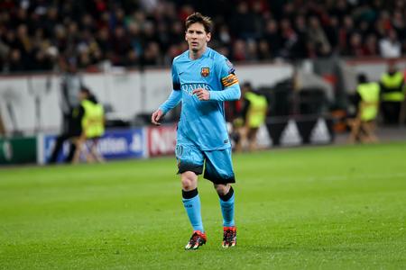 Leverkusen, Germany- 9. Dezember 2015: Lionel Messi in der UEFA Champions League-Spiel zwischen Bayer 04 Leverkusen vs Barcelona zu BayArena