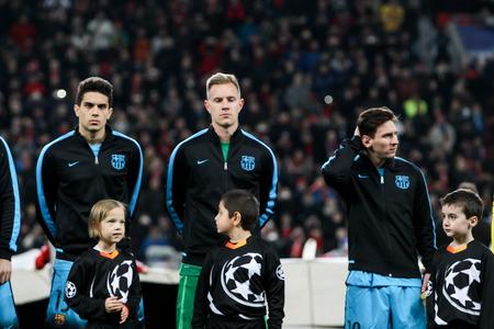 messi: Leverkusen, Germany- December 9, 2015:Marc Bartra (L), Marc-Andre ter Stegen (C), Lionel Messi (R) during the UEFA Champions League game between Bayer 04 Leverkusen vs Barcelona at BayArena stadium