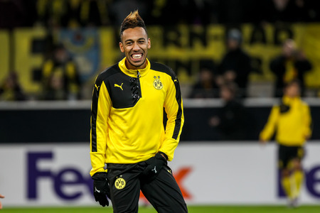 pierre: Dortmund, Germany- December 10, 2015: Pierre Emerick Aubameyang before the beginning the UEFA Europa League match between PAOK vs Borussia Dortmund played at BVB Stadium Editorial