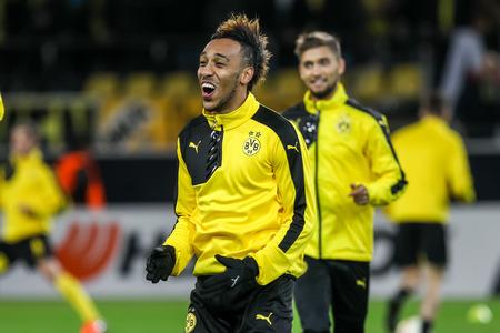 uefa: Dortmund, Germany- December 10, 2015: Pierre Emerick Aubameyang before the beginning the UEFA Europa League match between PAOK vs Borussia Dortmund played at BVB Stadium Editorial