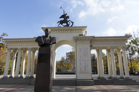 krasnodar: Krasnodar, Russia, November 5, 2015: View of the statues and monuments of Krasnodar, Russia. The oldest part of the city is Old Downtown Krasnodar, which consists of many historic buildings. Editorial