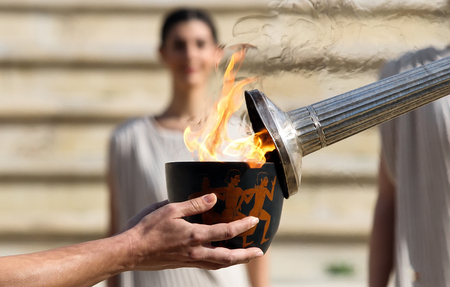 historical sites: Athens, Greece - December 30, 2015: The Lillehammer 2016 Winter Youth Olympic Games flame left the Panathinaikos Stadium on Tuesday, on its journey to Norway.