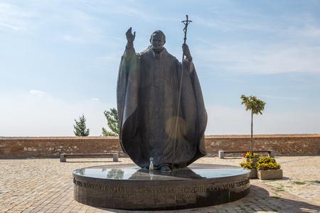 beatification: Nitra, Slovakia - August 6, 2015: Statue of Pope John Paul II in Nitra, Slovak republic, central Europe. Editorial