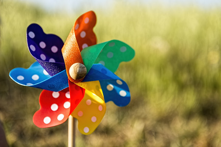 Close up of a Pinwheel on the grass (soft focus). Stock Photo
