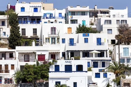 greek island: Milos, Greece - September 8, 2015: View of the architecture of Adamas Plaka typical Greek island in Cyclades, Milos, Greece.