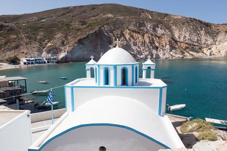 kyklades: Blue White orthodox church at Firopotamos, Milos island, Cyclades, Greece Stock Photo