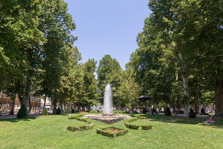 Zagreb, Croatia - July 15, 2015: Fountains in Zagreb, one of the oldest parks in city. Zagreb, Croatia.