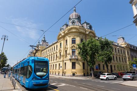 window graffiti: Zagreb, Croatia - July 15, 2015: Modern tram on a street of Zagreb, Croatia