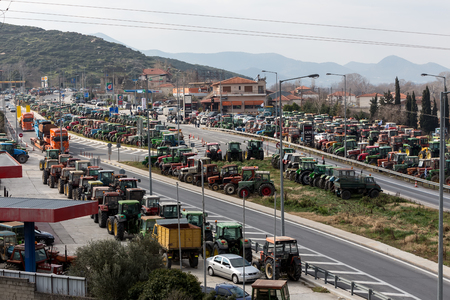 thessaly: Tempe, Greece, January 22 2016: Protesting farmers from the agricultural region of Thessaly arrive with their tractors in Tempe Vale, Greece. Τo protest against governments planned social security reforms.