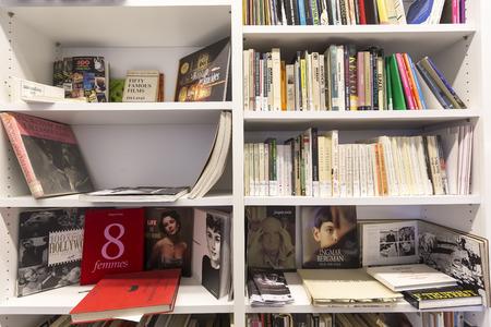 thessaloniki: Thessaloniki, Greece- November 14, 2015: Bookshelves in a bookstore in Thessaloniki, Greece Editorial