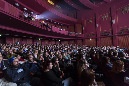 richard: Thessaloniki, Greece - November 6, 2015: The audience from the project Borneo, the maritime adventure based on the Flying Dutchman by Richard Wagner in the Music Hall in Thessaloniki, Greece. Editorial