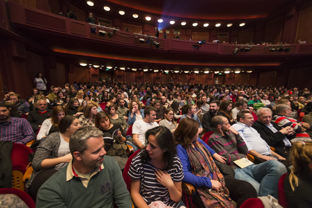 wagner: Thessaloniki, Greece - November 6, 2015: The audience from the project Borneo, the maritime adventure based on the Flying Dutchman by Richard Wagner in the Music Hall in Thessaloniki, Greece. Editorial