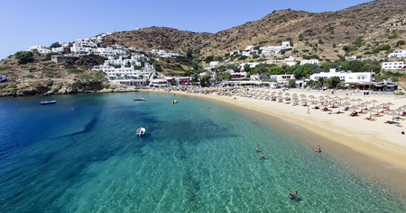 ios: Ios, Greece - September 19, 2015: Aerial view of the beaches of Greek island of Ios island, Cyclades, Greece. Ios is well known as the party island with the lively atmosphere and the endless fun.
