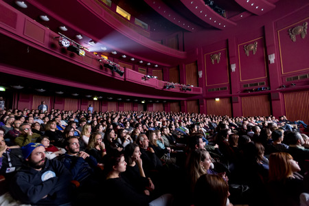 Thessaloniki, Greece - November 6, 2015: The audience from the project Borneo, the maritime adventure based on the Flying Dutchman by Richard Wagner in the Music Hall in Thessaloniki, Greece.