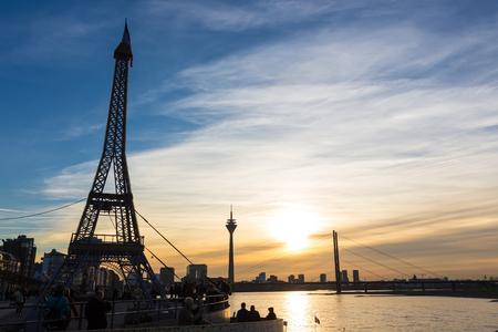 replica: Dusseldorf, Germany - December 8, 2015: Replica of Eiffel Tower in support of France in Dusseldorf, Germany.