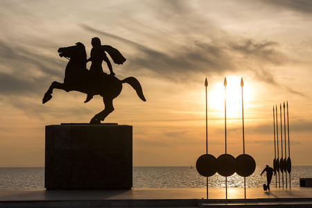 alexander the great: Silhouette of Alexander the Great Statue at sunrise. Thessaloniki city. Greece