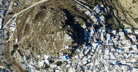 cyclades: Aerial view of Chora town, Ios island, Cyclades, Aegean, Greece