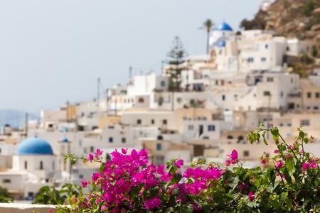ios: Wonderful view of City buildings in Ios Island, Greece. Selective Focus.