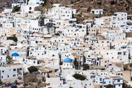 ios: Aerial view of Chora town, Ios island, Cyclades, Aegean, Greece. Close up