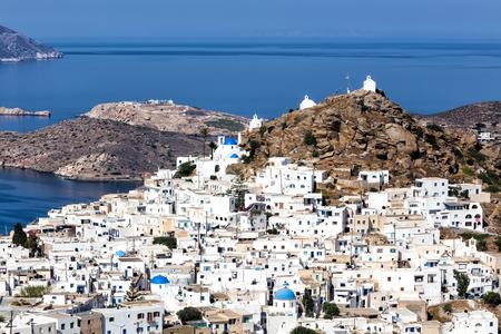 chora: Aerial view of Chora town, Ios island, Cyclades, Aegean, Greece