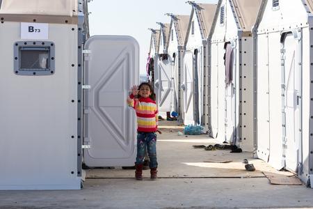Thessaloniki, Griechenland - 25. Februar 2016: Flüchtlinge leben in Zelten im Zentrum Verlagerung Diavata warten, um ihre Reise über die Grenze zwischen Griechenland und der ehemaligen jugoslawischen Republik Mazedonien fortsetzen und von dort nach Europa