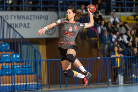 Thessaloniki, Greece - February 13, 2016: Handball player in action during the Greek Women Cup Final handball game Arta vs Nea Ionia