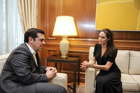 the prime minister: Athens, Greece - March 16, 2016: Special envoy of the United Nations High Commissioner for Refugees Angelina Jolie (R) during a meeting with Greek Prime Minister Alexis Tsipras