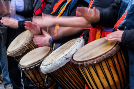 african drums: Thessaloniki, Greece - February 14, 2016: Drummers and musicians playing traditional music at Aristotelous square at Thessaloniki. Photos taken with slow shutter speed. Editorial