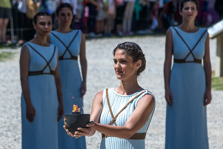 """olympiad: Olympia, Greece - April 20, 2016: Last rehersal of the The Lighting Ceremony of the Flame for the Olympic Games """"Rio 2016"""" and the Torch Relay, Naos Iras, Archea Olympia."""