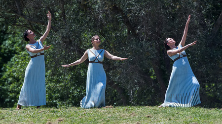 """olympic games: Olympia, Greece - April 20, 2016: Last rehersal of the The Lighting Ceremony of the Flame for the Olympic Games """"Rio 2016"""" and the Torch Relay, Naos Iras, Archea Olympia."""