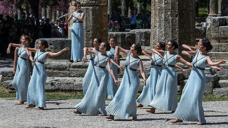 """Olympia, Greece - April 20, 2016: Last rehersal of the The Lighting Ceremony of the Flame for the Olympic Games """"Rio 2016"""" and the Torch Relay, Naos Iras, Archea Olympia."""