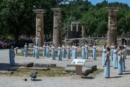 """the olympic games: Olympia, Greece - April 20, 2016: Last rehersal of the The Lighting Ceremony of the Flame for the Olympic Games """"Rio 2016"""" and the Torch Relay, Naos Iras, Archea Olympia."""