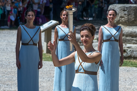"""ancient olympic games: Olympia, Greece - April 20, 2016: Last rehersal of the The Lighting Ceremony of the Flame for the Olympic Games """"Rio 2016"""" and the Torch Relay, Naos Iras, Archea Olympia."""