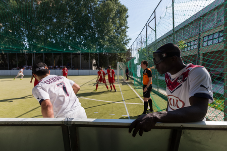 impaired: Thessaloniki, Greece - May 7, 2016: Undefined players in action during of 2nd IBSA Euro Challenge Cup and Thessaloniki International Blind Football Tournament between the teams Bordeaux vs Turkey