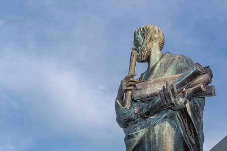 Estatua de Aristóteles, un gran filósofo griego Foto de archivo - 56882452