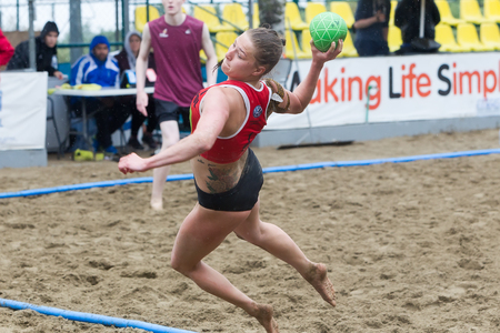 undefined: Thessaloniki, Greece - May 21, 2016: Undefined players in action during of European Beach Handball Tour - ebt Finals Thessaloniki 2016 between the teams  OVB Beach Girls vs AZS