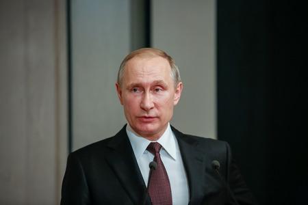 Atenas, Grecia - 27 de mayo, 2016: El presidente ruso, Vladimir Putin, pronuncia un discurso durante su visita en el museo Bizantino y Cristiano de Atenas Foto de archivo - 58168990