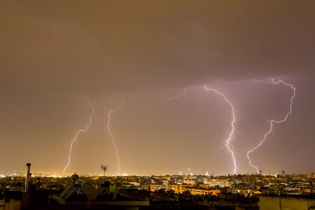 thessaloniki: Lightning storm strikes the city of Thessaloniki, Greece