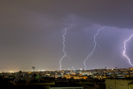 thundershower: Lightning storm strikes the city of Thessaloniki, Greece