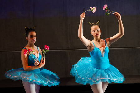 balletic: Thessaloniki, Greece, April 26 2016: Unidentified dancers of dance school during performances ballet state theatre of Thessaloniki